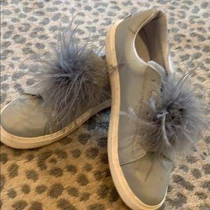Zara tennis shoes feather detail. Lt blue gray